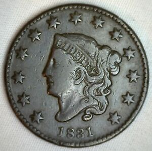 1831-Coronet-Large-Cent-US-Copper-Type-Coin-Very-Fine-Newcomb-N11-VF-M1-Penny