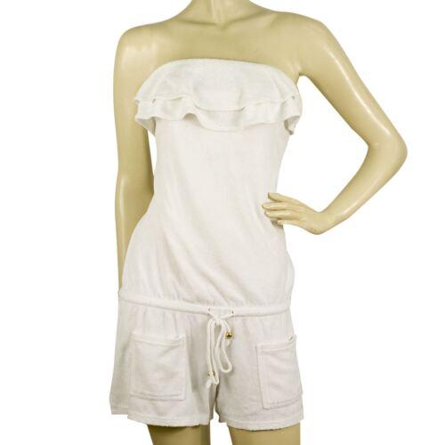 Juicy Couture White Terry Swimwear Strapless Ruffl