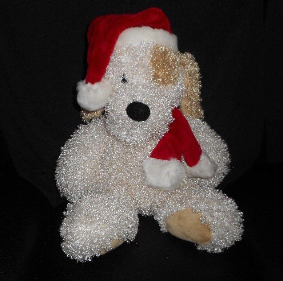 GANZ RUFFUS CHRISTMAS Weiß & braun PUPPY DOG STUFFED ANIMAL PLUSH TOY HX9055