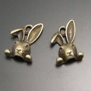 15pcs-Vintage-Bronze-Alloy-Cute-Rabbit-Head-Look-Charms-Pendants-Crafts-02234
