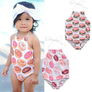 Image is loading Girls-swimming-costume-swimsuit-Hamburger -and-doughnuts-Age-  sc 1 st  eBay & Girls swimming costume swimsuit Hamburger and doughnuts Age 2 3 4 5 ...