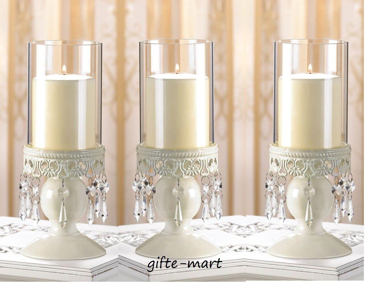 6 bulk White Crystal chandelier pedestal Candle Holder wedding table centerpiece