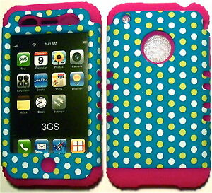 Yellow-Dots-on-Pink-Silicone-Apple-iPhone-3G-3GS-Hybrid-2-in-1-Rubber-Cover-Case