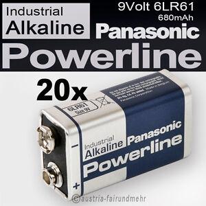20x-9Volt-Block-6LR61-MN1604-Batterie-PANASONIC-POWERLINE-INDUSTRIAL