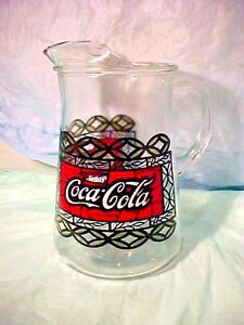 Vintage-Coca-Cola-Coke-Glass-Pitcher-Large-Tiffany-Style-Stained-Glass-STYLE