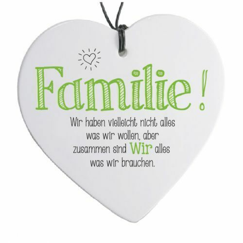 """H 14 cm Herz mit Spruch /""""Familie!.../"""""""