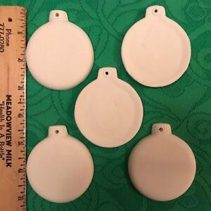 4-U2-PAINT-Lot-5-CERAMIC-Bisque-Round-Ornament-Xmas-Ball-3-034-Plain-Flat-Disk-Shape