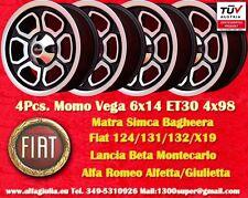 4 Cerchi Momo Vega Simca Talbot Matra Bagheera Murena 6x14 ET30 PCD 4x98 Wheels