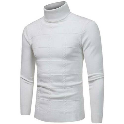 Mens Winter Thick Knitted Polo Roll Turtle Neck Pullover Sweater Jumper Clothing