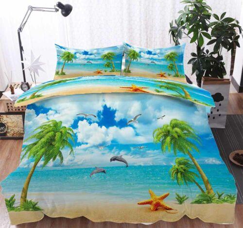 Coconut Landscape 3D Quilt Duvet Doona Cover Set Single Double Queen King Print