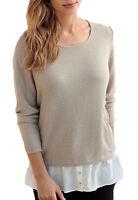 UK Size 8 - 38 Ladies Beige Black or Blue Long Sleeved Jumper with Shirt Hem