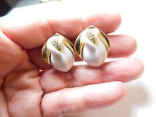 Vintage Signed KJL Avon White Lucite Rhinestone Tulip Flower Clip On Earrings