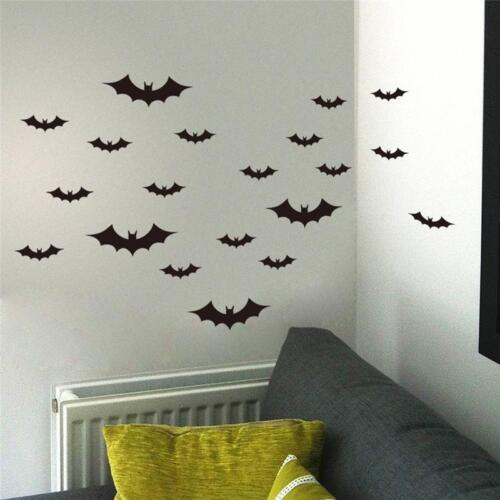 20PCS Halloween Decorations Window Wall Bats Stickers Party Props Scary Decor UK