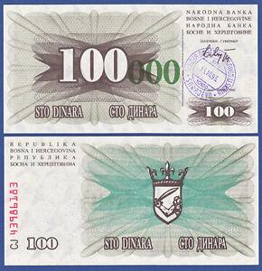 Bosnien / Bosnia 100.000 Dinara 15.10.1993 Unc P.56 E