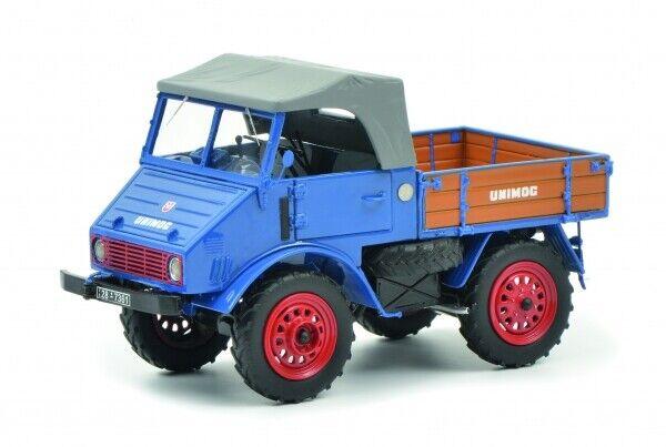 1 32 Schuco Mercedes-Benz Unimog u401 con pianale in legno azul 450900300