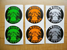 6 Funny Hard Hat Stickers I Love Guns Titties Decals Lime Orange Silver Pack