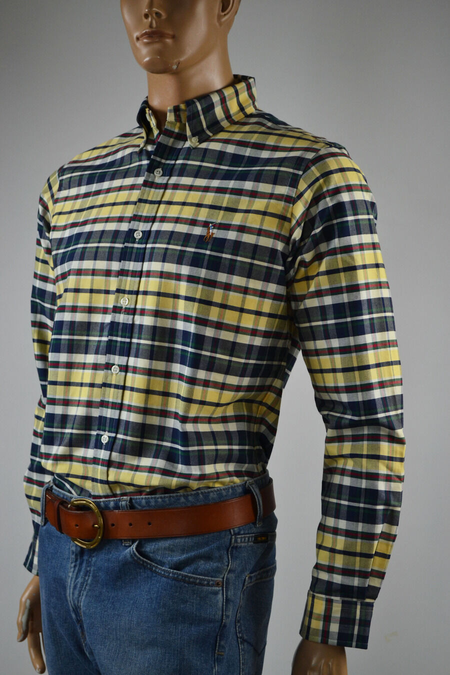 Ralph Lauren giallo,Navy Custom Fit giallo,Navy Lauren Plaid Long Sleeve Shirt Pony-Small-NWT 88f31c