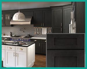 All wood kitchen cabinets 10x10 rta richmond - Grey Shaker Kitchen Cabinets 14 Foot Set Barnwood Free