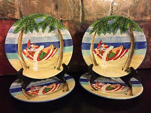 4 Oneida SAKURA Coastal Holiday Paul Brent Salad Plates Christmas ...