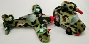 Petigue-plush-Sound-voice-chip-Jeep-or-plane-Camoflage-military-dog-toy-toys-B25