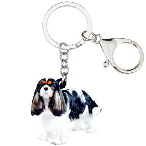 Acrylic Cute Charles Spaniel Dog KeyChains Ring For Women Kid Purse Jewelry Gift
