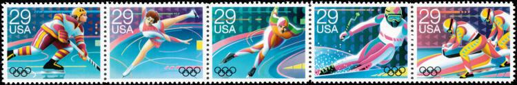 1992 29c France XVI Olympic Winter Games, Strip of 5 Sc