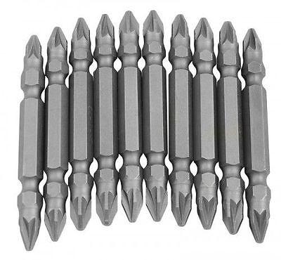 10PC POWER BIT SET WITH HOLDER POZIDRIVE POZI PZ2  FLAT MAGNETIC  SHANK 65mm