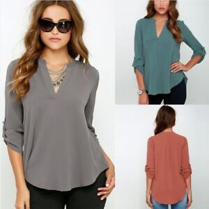 75b56ee014cf8 Details about Women V Neck Long Sleeve Chiffon Loose Casual Solid Blouse  Shirt Tops Plus Size