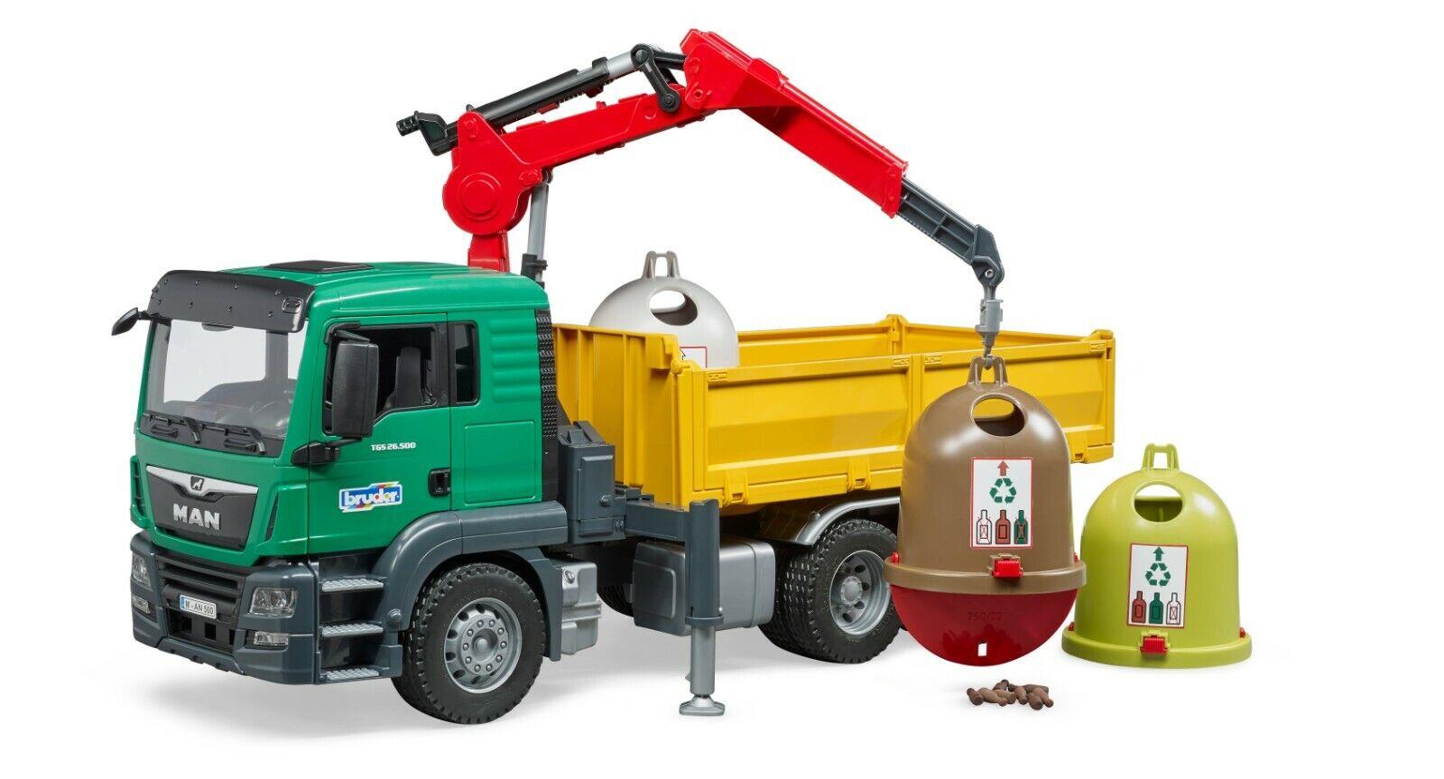 BRUDER® 03753   MAN TGS Kran LKW mit 3 Altglascontainern und Flaschen, NEU & OVP    Gemäßigten Kosten