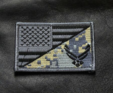 USA AIR FORCE LOGO  USA FLAG EMBROIDERED TACTICAL 3 INCH MORALE HOOK PATCH