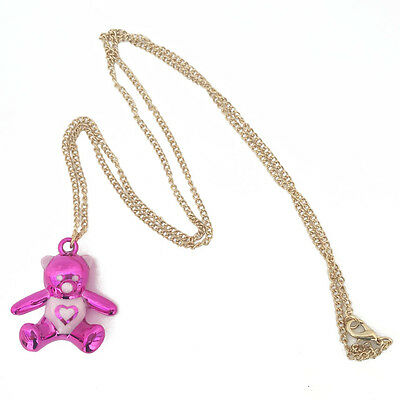 Tddy bear necklace,bear necklace,cartoon bear pendant necklace,deep pink