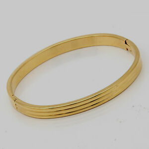 10K-Yellow-Gold-Filled-GF-Solid-Bracelet-Bangle-5-7-x-4-9cm-ID-6mm-Wide