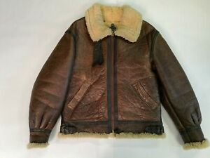Details zu Avirex B3 Leather Sheepskin Shearling Bomber Jacket B 3 Size 38 Vintage from 80s