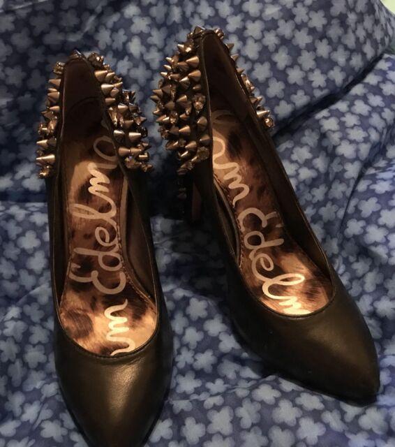 Sam Edelman Black Leather Spiked Heel  and Rhinestone Women's Pumps Sz 9