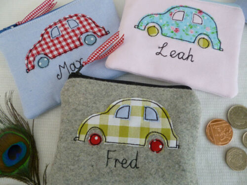 Personalised Boys Girls Cars Purse//Wallet or Pencil Case Word and Colour Choice