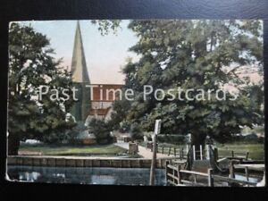 c1909-Horsham-St-Mary-039-s-Church-from-River-showing-foot-bridge
