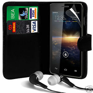 Black-PU-Leather-Wallet-Flip-Case-Cover-LCD-Film-amp-Earphone-For-Various-Phones