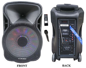12 portable 1200w speaker pa system wireless mic bluetooth rechargeable mu 12d ebay. Black Bedroom Furniture Sets. Home Design Ideas