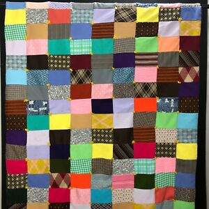 Vintage-Patchwork-Quilt-Handmade-Yarn-Tied-Throw-Blanket-Double-Knit-Clothes-66-034
