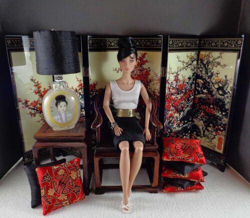 for Barbie//Fashion Royalty Displays CHERRY RED 1:6 Scale Handmade Pillow Set