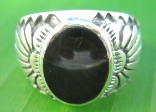 100/% de plata esterlina 925 Ágata Turquesa Rojo Negro Onyx Anillo de hombre Oval P R T V Z