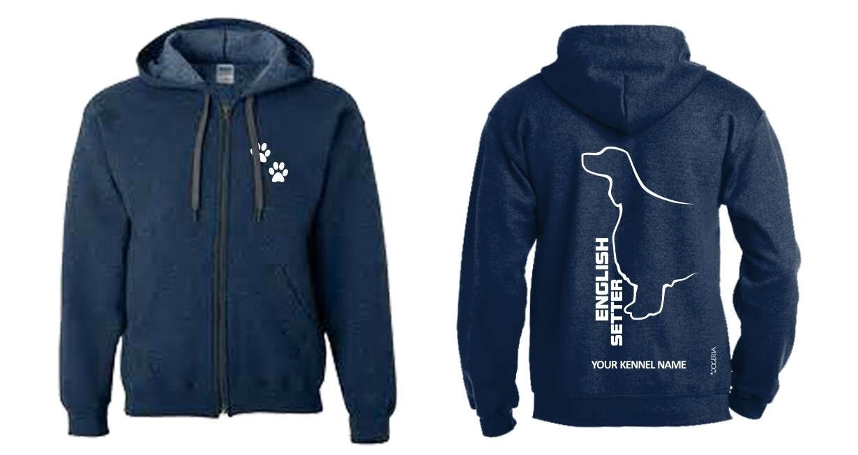 English Setter Full Zipped Dog Breed Hoodie, Exclusive Dogeria Design
