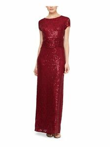 SLNY Womens Maroon Short Sleeve Full-Length Sheath Evening Dress Size: 12
