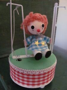 Vintage Music Box, Girl on a Swing, Plays Edelweiss, Made in Japan