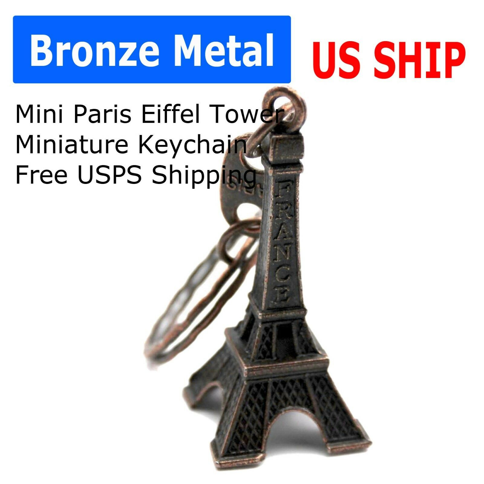 Paris Retro white Mini Eiffel Tower Model Cute Keychain Keyring Love Gift