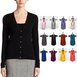 Ladies-Knitwear-round-v-neck-Long-Sleeve-Jumper-cashmere-Cardigan-UK-size-6-18