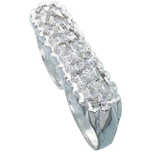 Men Women Sterling Silver Rhodium Plated Two Finger Oblong Nugget Ring 11mm Band