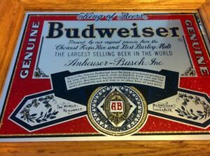 VINTAGE-Wood-Frame-Bar-Mirror-Sparkle-Glitter-BUDWEISER-King-of-Beers-13-X-11-034