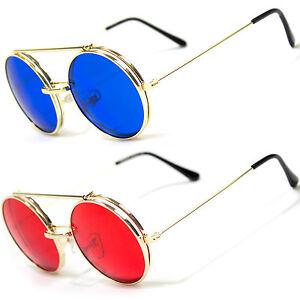 79d0d24c09df Cool Flip Up Lens Steampunk Vintage Retro Style Round Sunglasses ...