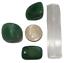 thumbnail 1 - Aventurine Green Polished Tumbled Stones 3 Pc Set  Bonus Selenite Crystal # 4